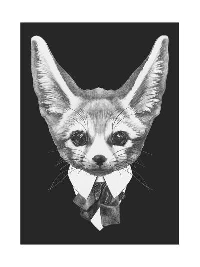 Portrait of Fennec Fox in Suit. Hand Drawn Illustration.-victoria_novak-Art Print