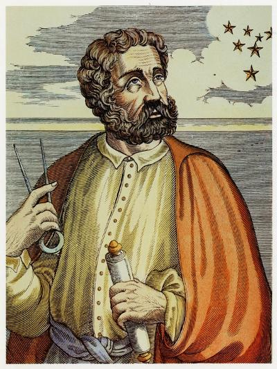 Portrait of Ferdinand Magellan (1480 - 1521) with Navigational Instruments. (Colour Litho.)-Andre Thevet-Giclee Print