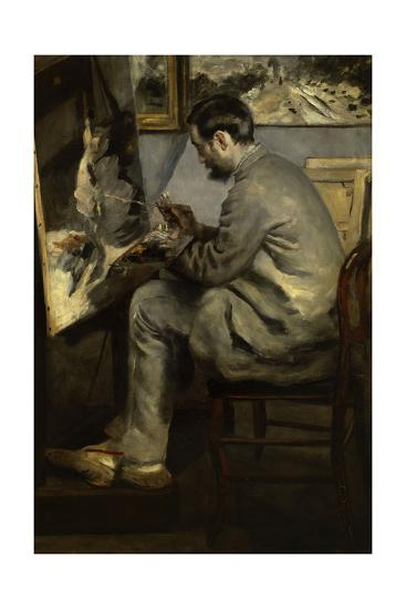 Portrait of Frederic Bazille Painting 'The Heron in Flight,' 1867-Pierre-Auguste Renoir-Giclee Print