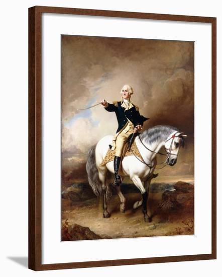 Portrait of George Washington Taking the Salute at Trenton-John Faed-Framed Giclee Print