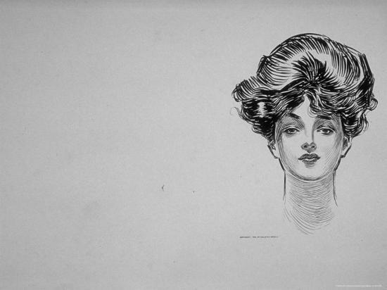 """Portrait of """"Gibson Girl,"""" from Drawings Including Weaker Sex: the Story of a Susceptible Bachelor-Charles Dana Gibson-Photographic Print"""
