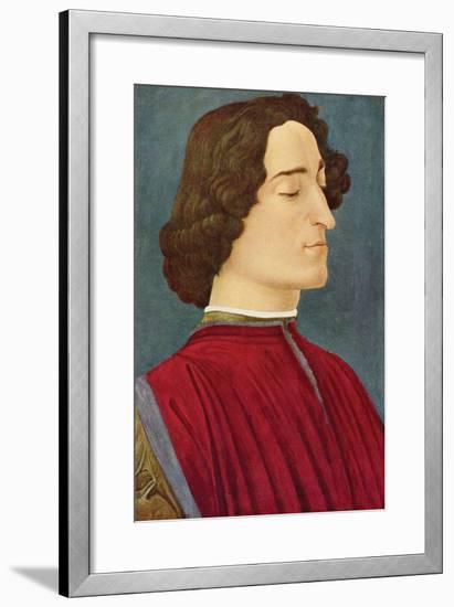 Portrait of Giuliano De Medici-Sandro Botticelli-Framed Art Print
