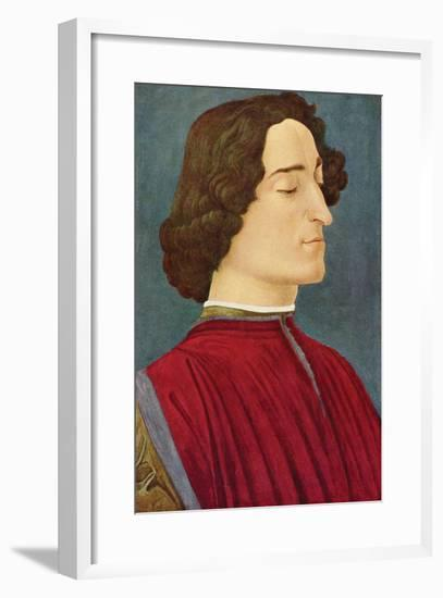 Portrait of Giuliano De Medici-Sandro Botticelli-Framed Art Print