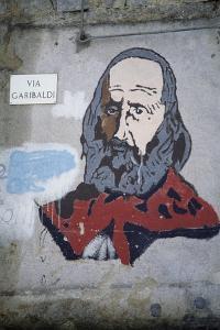 Portrait of Giuseppe Garibaldi (1807-1882), Mural in Orgosolo, Sardinia, Italy