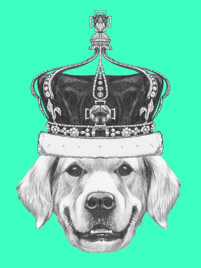 Portrait of Golden Retriever with Crown. Hand Drawn Illustration.-victoria_novak-Art Print