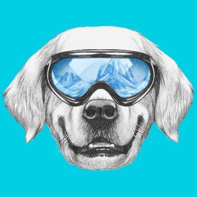 Portrait of Golden Retriever with Ski Goggles. Hand Drawn Illustration.-victoria_novak-Art Print