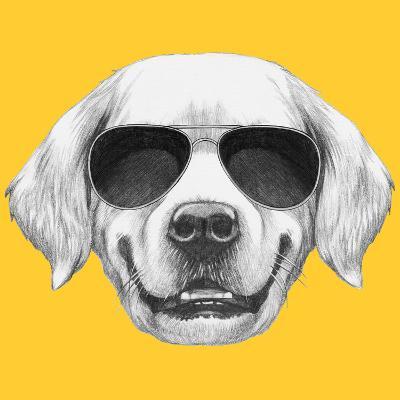 Portrait of Golden Retriever with Sunglasses. Hand Drawn Illustration.-victoria_novak-Art Print