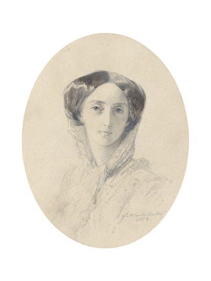 Portrait of Grand Duchess Olga Nikolaevna of Russia (1822-189), Queen of Württemberg-Franz Xaver Winterhalter-Giclee Print