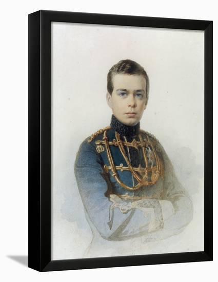 Portrait of Grand Duke Alexander Alexandrovich, Later Tsar Alexander III, 1861-Andrei Franzovich Belloli-Framed Stretched Canvas Print