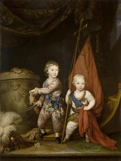 Portrait of Grand Dukes Alexander Pavlovich and Constantine Pavlovich, as Children, 1781-Richard Brompton-Giclee Print