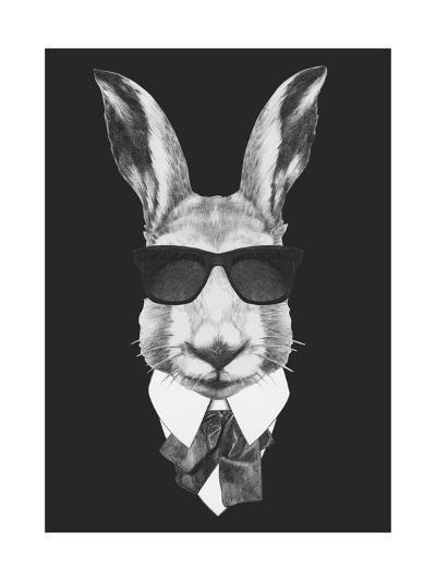 Portrait of Hare in Suit. Hand Drawn Illustration.-victoria_novak-Art Print