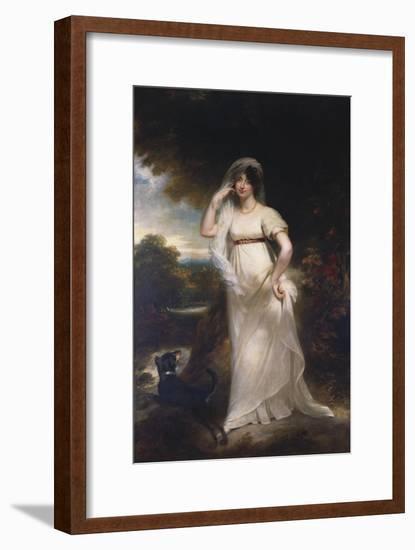 Portrait of Harriet Wells in a River Landscape-Sir William Beechey-Framed Premium Giclee Print