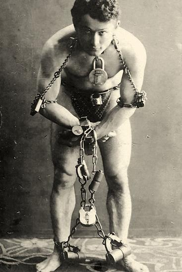 Portrait of Harry Houdini in Chains. c.1900-American School-Photographic Print
