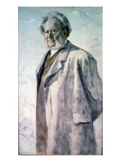 Portrait of Henrik Ibsen, 1895-Erik Theodor Werenskiold-Giclee Print