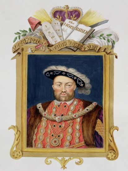 """Portrait of Henry VIII as Defender of the Faith from """"Memoirs of the Court of Queen Elizabeth""""-Sarah Countess Of Essex-Giclee Print"""