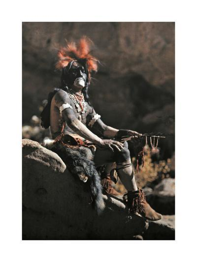 Portrait of Hopi Snake Clan Priest Adorned in Paint and Ornaments-Franklin Price Knott-Photographic Print