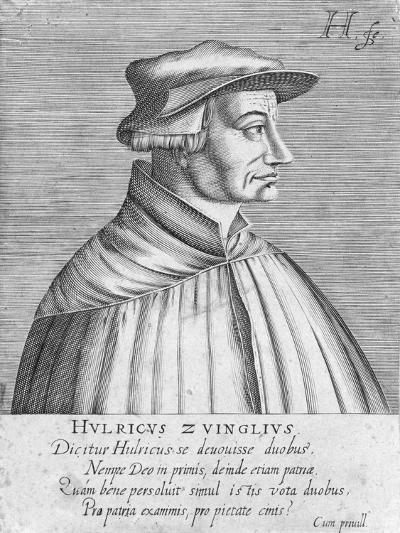 Portrait of Huldrych Zwingli, Published by Hondius, 1588-1649-German School-Giclee Print
