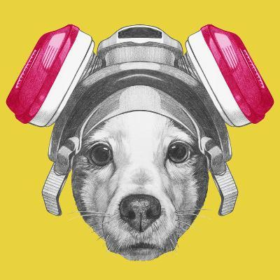Portrait of Jack Russell Terrier Dog with Gas Mask. Hand Drawn Illustration.-victoria_novak-Art Print