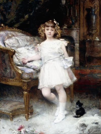 Portrait of Janine Potin with a Kitten, 1904-Aime Nicolas Morot-Giclee Print