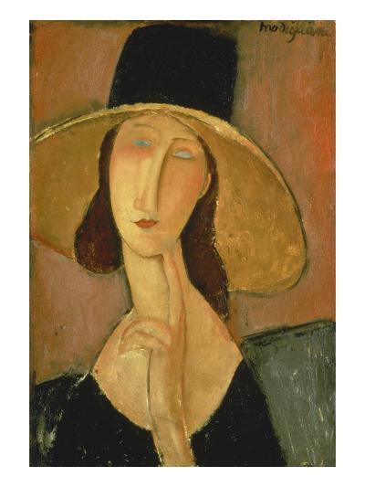 Portrait of Jeanne Hebuterne in a Large Hat-Amedeo Modigliani-Giclee Print