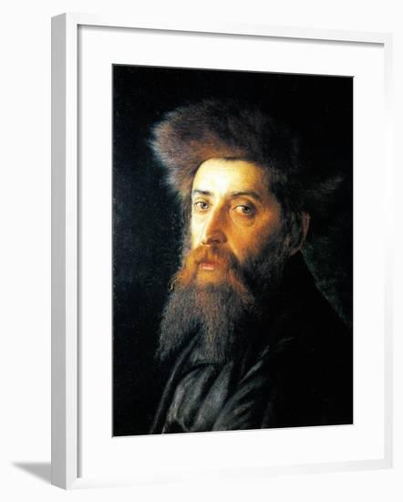 Portrait of Jew with Streimel-Isidor Kaufmann-Framed Art Print