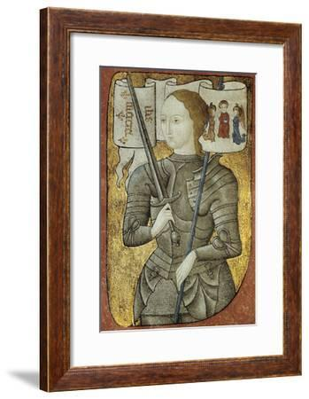 Portrait of Joan of Arc, Ca. 1430. from Charles D'Orleans' Poesy. French Miniature Painting--Framed Giclee Print