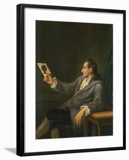 Portrait of Johann Wolfgang Goethe Holding a Silhouette, 1775-76-Georg Melchior Kraus-Framed Giclee Print