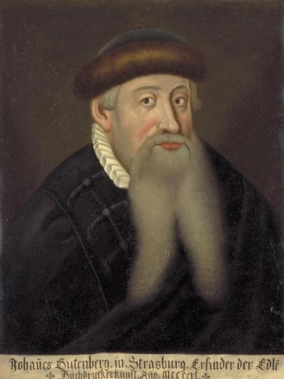 Portrait of Johannes Gutenberg, Early 17th C--Giclee Print