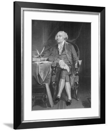 Portrait of John Adams at Desk--Framed Giclee Print