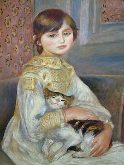 Portrait of Julie Manet or Little Girl with Cat-Pierre-Auguste Renoir-Premium Giclee Print