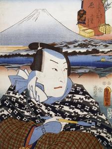 Portrait of Kabuki Theatre Actor in Front of Mount Fuji