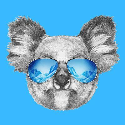 Portrait of Koala with Mirror Sunglasses. Hand Drawn Illustration.-victoria_novak-Art Print