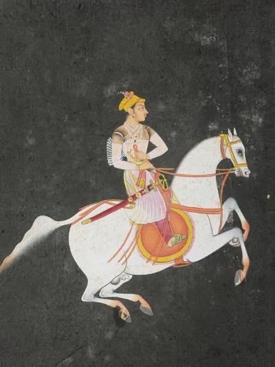 Portrait of Kunwar Baharat Singh on Horse-Back, Inscribed on Top and Reverse in Devanagari, 1680--Giclee Print