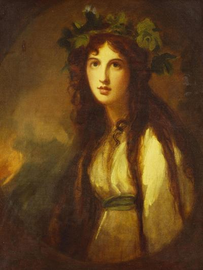 Portrait of Lady Hamilton as a Bacchante, Half Length, in a White Dress with a Blue Sash and a…-George Romney-Giclee Print