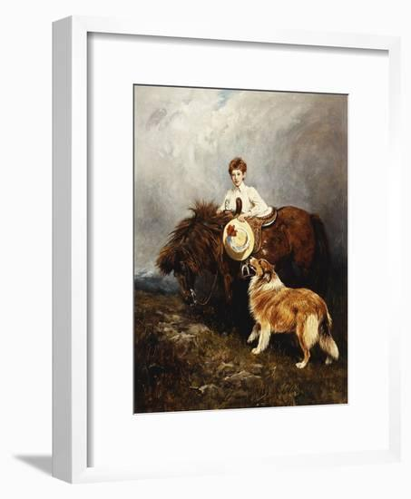 Portrait of Lady Margaret Douglas-Home with a Shetland Pony and a Collie-John Emms-Framed Giclee Print