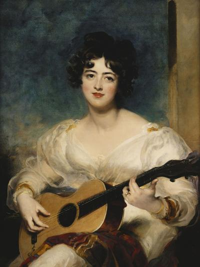 Portrait of Lady Wallscourt, a Striped Scarf Across Her Knees, Playing a Guitar-Sir Thomas Lawrence-Giclee Print