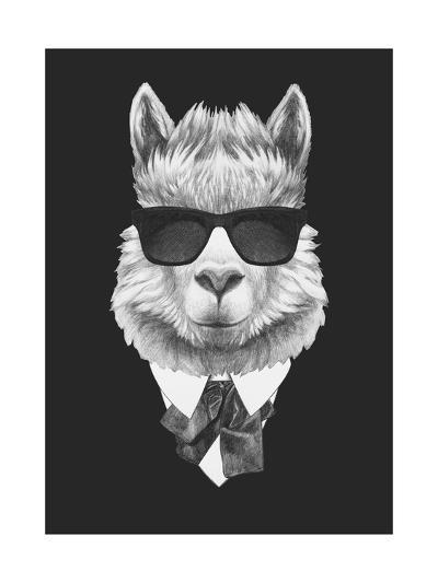Portrait of Lama in Suit. Hand Drawn Illustration.-victoria_novak-Art Print