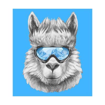 Portrait of Lama with Ski Goggles. Hand Drawn Illustration.-victoria_novak-Art Print