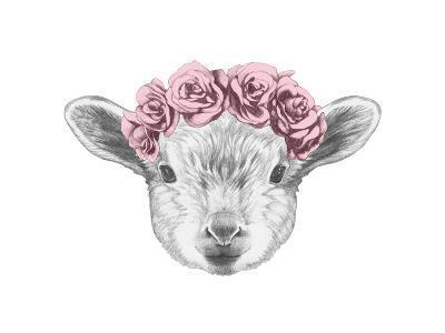 Portrait of Lamb with Floral Head Wreath. Hand Drawn Illustration.-victoria_novak-Art Print