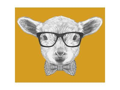 Portrait of Lamb with Glasses and Bow Tie. Hand Drawn Illustration.-victoria_novak-Art Print