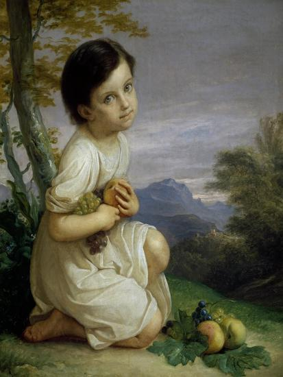 Portrait of Lena Presti with Fruit, 1830-1840-Giacomo Trecourt-Giclee Print