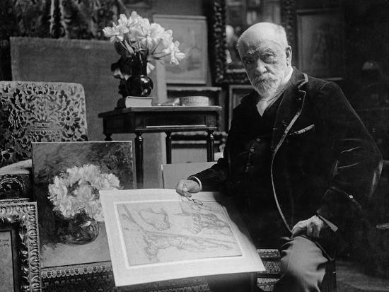 Portrait of Léon Bonnat Holding a Drawing by Bartolomeo Passarotti--Photographic Print