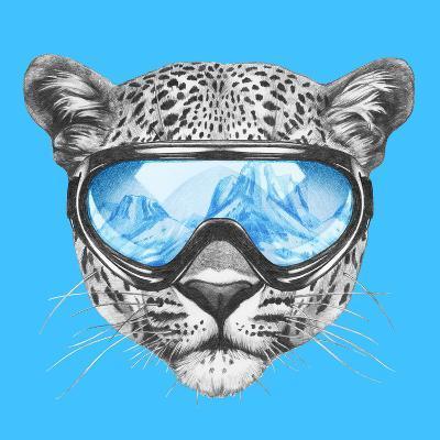 Portrait of Leopard with Ski Goggles. Hand Drawn Illustration.-victoria_novak-Art Print