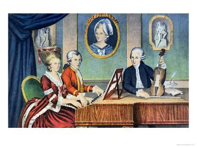 Portrait of Leopold Mozart and His Children, Wolfgang Amadeus and Maria Anna 1780-81--Giclee Print