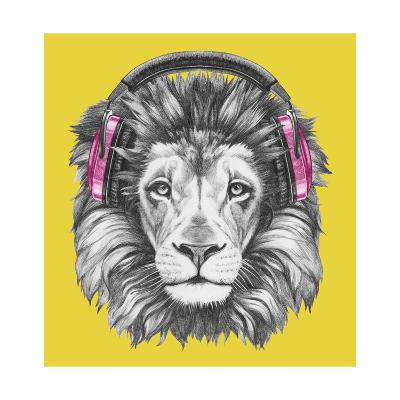 Portrait of Lion with Headphones. Hand Drawn Illustration.-victoria_novak-Art Print