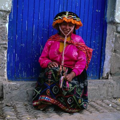 Portrait of Local Woman in Colourful Clothes, Pisac, Peru-Wes Walker-Photographic Print
