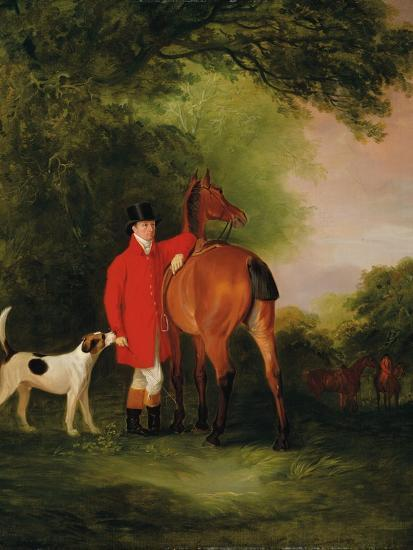 Portrait of Lord Lismore in a Hunting Coat with His Bay Hunter and a Hound, in a Landscape, a…-John E^ Ferneley-Giclee Print