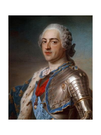 Portrait of Louis XV (1710-1774) in Armor - by Quentin Delatour--Giclee Print