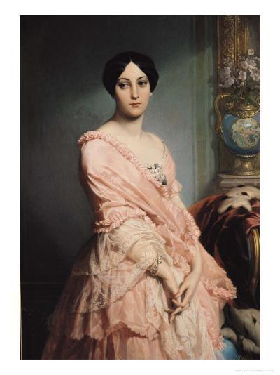 Portrait of Madame F, 1850-51-Louis Edouard Dubufe-Giclee Print