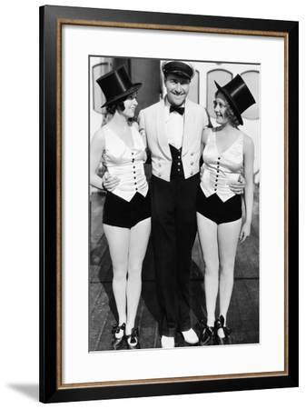 Portrait of Man with Two Women Wearing Top Hats--Framed Photo